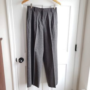MAX MARA Wool High Waist Pleated Flannel Pants